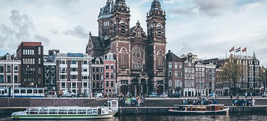 Boat amsterdam church
