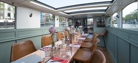 Business meeting boat