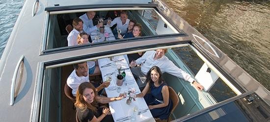 People having meeting on boat